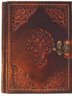 """Leder Notizbuch mit aufgeprägtem Baum """"Paradies"""""""