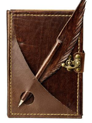"""Ringbuch Kalender """"Schreibfeder Braun"""""""