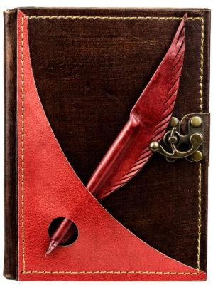 """Tagebuch groß """"Schreibfeder"""" rot liniert"""