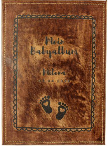 """Lederbuch mit Baby Fußabdrücken und Beschriftung """"Mein Babyalbum"""""""