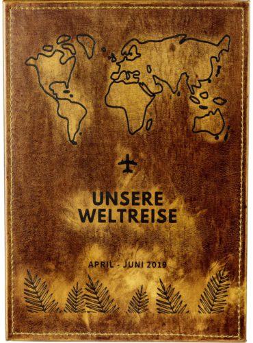 """Buch mit Karte und Beschriftung """"Unsere Weltreise"""""""