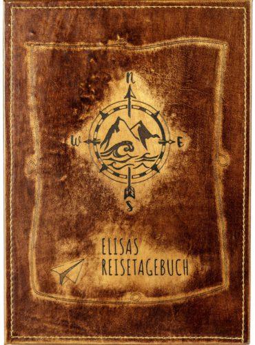 Cover eines individuellen Buches mit Kompass als Reisetagebuch