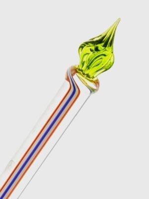 Glasfeder bunt mit grüner Spitze