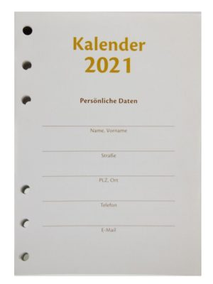 Kalendereinlagen 2021 DIN A6 , 6 fach Lochung