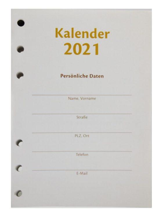 Kalendereinlage für Ringbücher 2021
